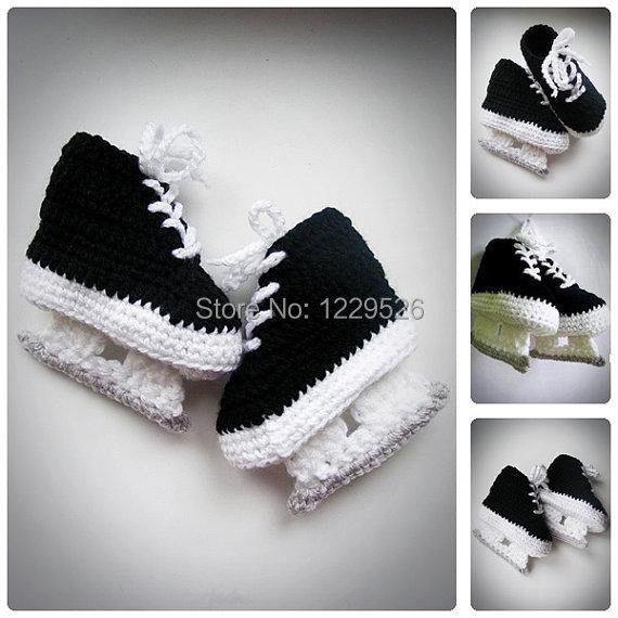 3e818d353 Hóquei Patins preto Crochet Sapatinho bebê, recém-nascidos Sapatos de Crochê,  Botas infantis
