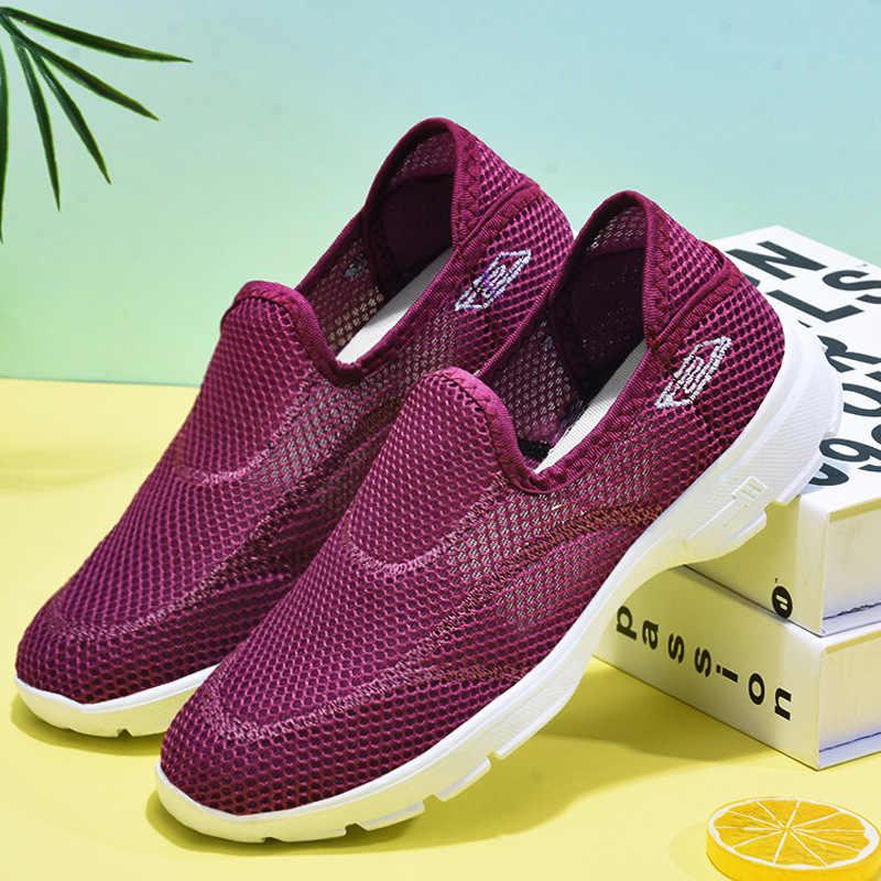 ฤดูร้อนตาข่ายรองเท้าผู้หญิงเดินรองเท้ารองเท้าผ้าใบแบน Breathable น้ำหนักเบาสีดำและสีขาวกีฬารองเท้าผู้หญิง