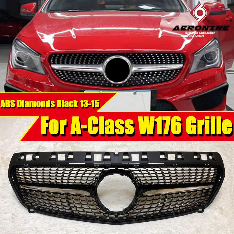 W176 Clase A A45 Parrilla de apariencia diamantes ABS negro brillante A160 A180 A200 A220 A250 rejillas delanteras deportivas sin señal 2013-2015