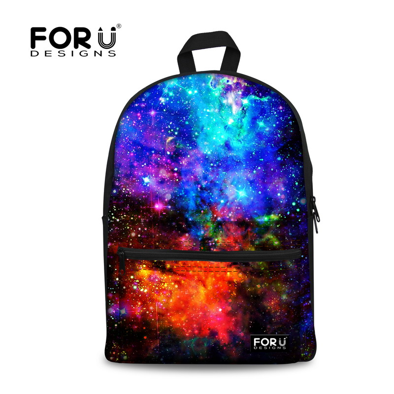 Children school backpack women bagpack galaxy space star backpacking fashion daypack canvas back pack bags female