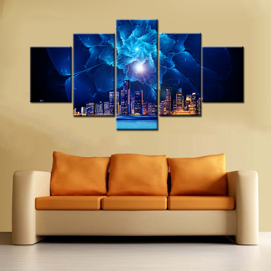 Blue Flowers Background City Night View Landscape Picture Print ...