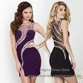 Vestido Coctel Corto Rhinestone Short Cocktail Dress Beads Slit Vestido Reveillon Purple Black 2016 Crystal Party Dresses S014