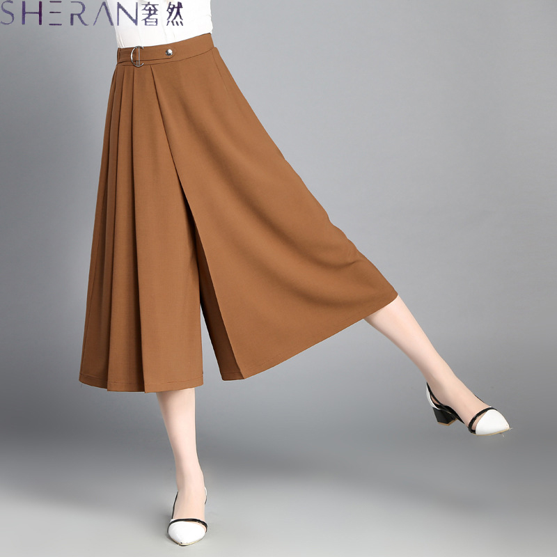 Plus Size Women Chiffon Wild Wide Leg Loose Skirt Pants 2018 Summer Calf Length of Pants Female Thin Section Ladies Clothing