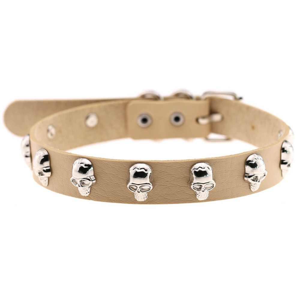 Punk czaszka choker Goth Choker naszyjnik kobiety skórzana obroża choker mężczyźni Halloween komunikat biżuteria