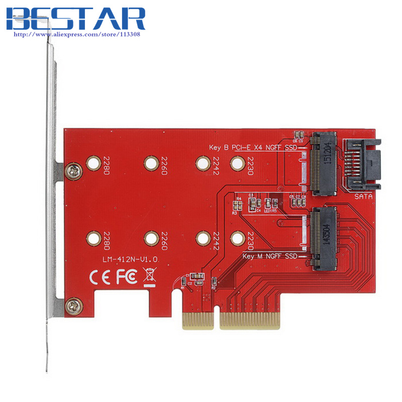 (50 pieces/lot) M.2 NGFF 4 Lane SSD to PCI-E 3.0 x4 & NGFF to SATA Adapter for XP941 SM951 PM951 A110 m6e SSD
