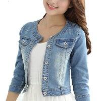 Autumn Cotton Denim Jacket Women 2019 Slim O neck 7 sleeves Short Jeans Jacket Vintage Coats Women Large size chaqueta mujer