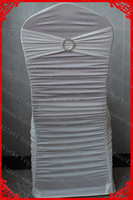 Ivory Ruffled Lycra Chair Covers With Lycra Band And Tow Row Round Buckle With Pin For