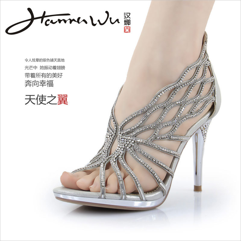 HANNAWU silver rhinestone Strappy high heels fashion women's ...