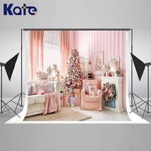 Kate Rosa Interior Sofá Cortina Cenários de Fotografia Fundo Fotografia de Natal Com Árvore de Natal Fundo Fotografico Madeir