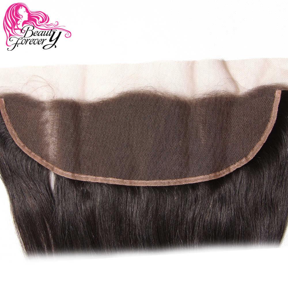 Beauty forever 13*4 Кружева Фронтальная застежка прямо бразильские волосы бесплатная часть уха до уха 100% человеческих синтетические волосы