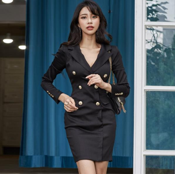 Purposeful 2019 Autumn Women Blazers Dress Office Double-breasted Notched Collar Pencil Dress Vintage Black Work Mini Bodycon Dress Lm68 Durable Service Women's Clothing