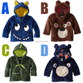 Free Shipping 5 Pieces/lot Size 80-120 Boy Winter Coral Velvet Monkey Dinosaur Sheep Hooded Jacket