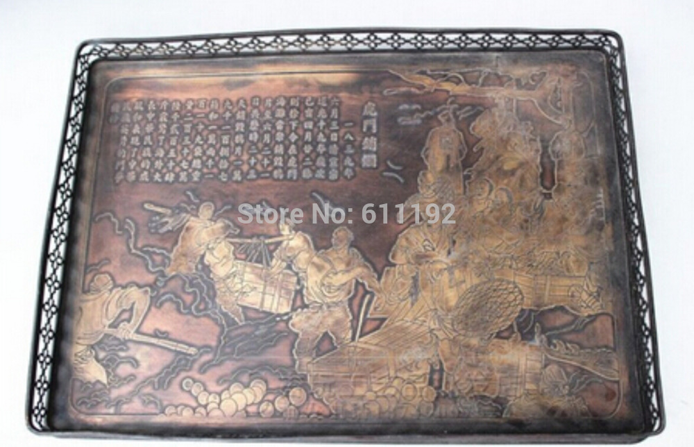 Collections of ancient Asian chinese hand-carved Humenxiaoyan map pattern copper tray Metal crafts