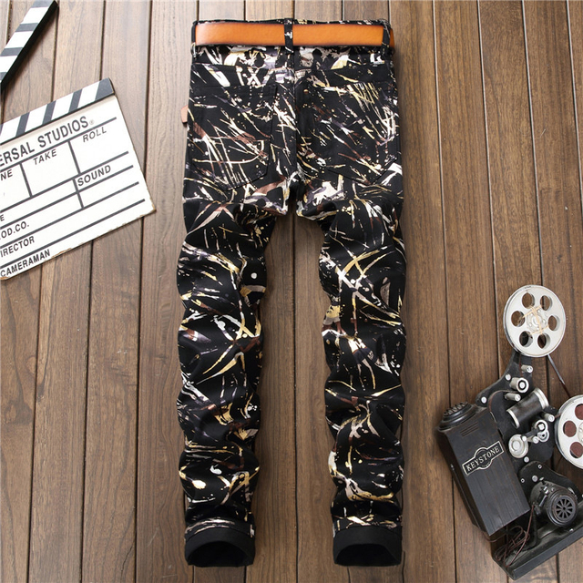 Sokotoo Men's fashion 3D pattern black rinted jeans Slim fit straight denim pants Long trousers