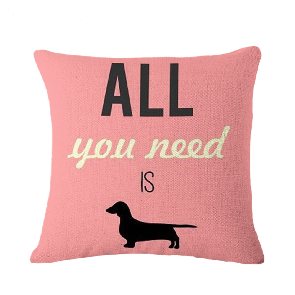 Simple Style Cushion Cartoon Dachshund and Letters Printing 45*45cm Decorative Cotton Linen Sofa Home Pillows Cover