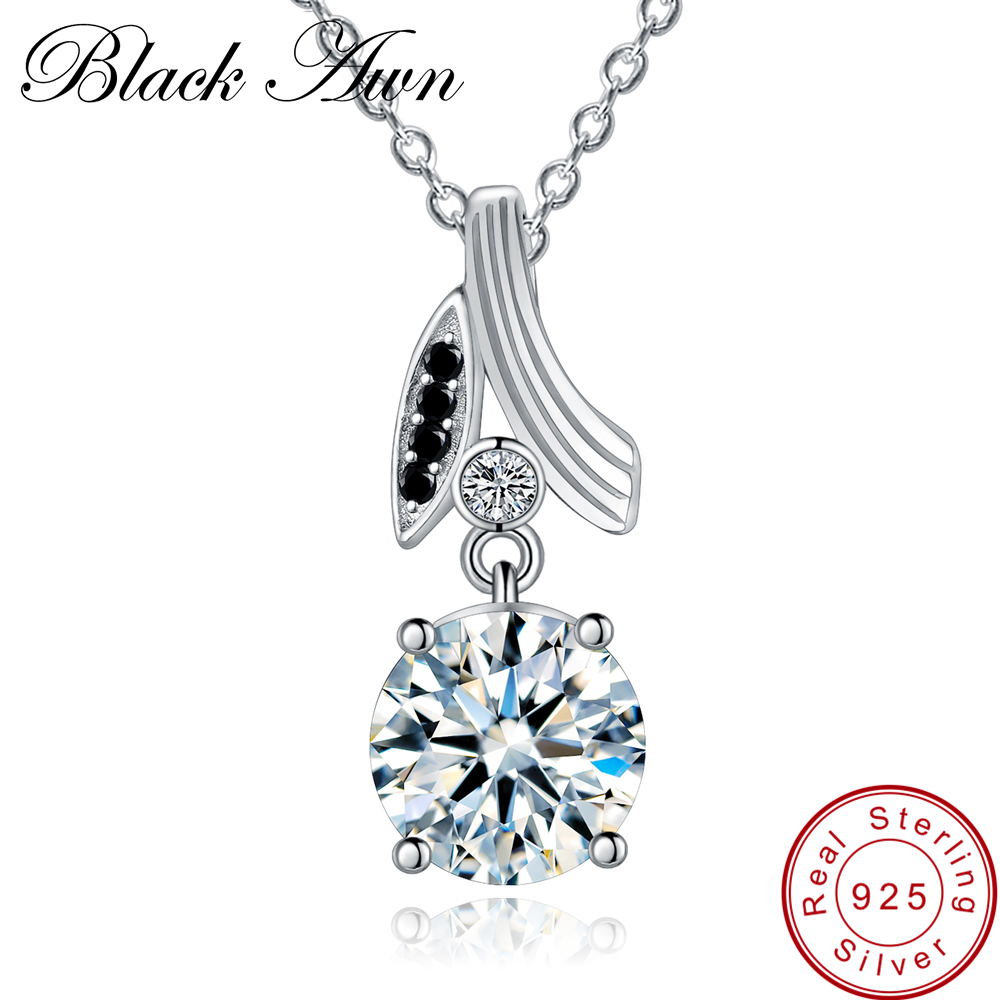 [BLACK AWN] Real 925 Sterling Silver Jewelry Necklace for Women Black Spinel Flower Necklaces Pendants P153[BLACK AWN] Real 925 Sterling Silver Jewelry Necklace for Women Black Spinel Flower Necklaces Pendants P153