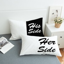 Black and White Bed Pillow Case Soft Pillowcase His Her Side Couple Pillow Cover Gift for Him or Her 2Pcs 2 Sizes