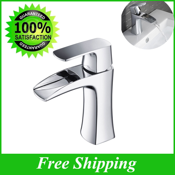Copper  Basin faucet  waterfall faucet Bathroom Sink Mixer  Chrome Finish Single Lever  Hot Cold Water Tapware free shipping polished chrome finish new wall mounted waterfall bathroom bathtub handheld shower tap mixer faucet yt 5333