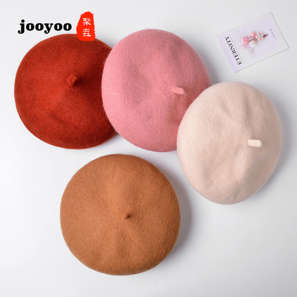 Children's Hats Beret Korean Solid Color Baby Hat Autumn And Winter Fashion Casual Cap Wild Painter Hat Female Newsboy jooyoo