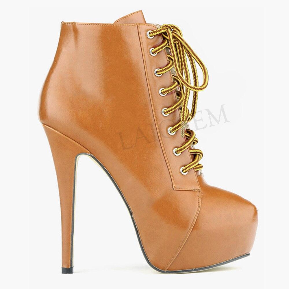 LAIGZEM 2019 Botines موهير النساء منصة الجوارب عالية الكعب الدانتيل يصل قصيرة حذاء من الجلد أحذية امرأة السيدات كبير حجم 34  52-في أحذية الكاحل من أحذية على  مجموعة 3