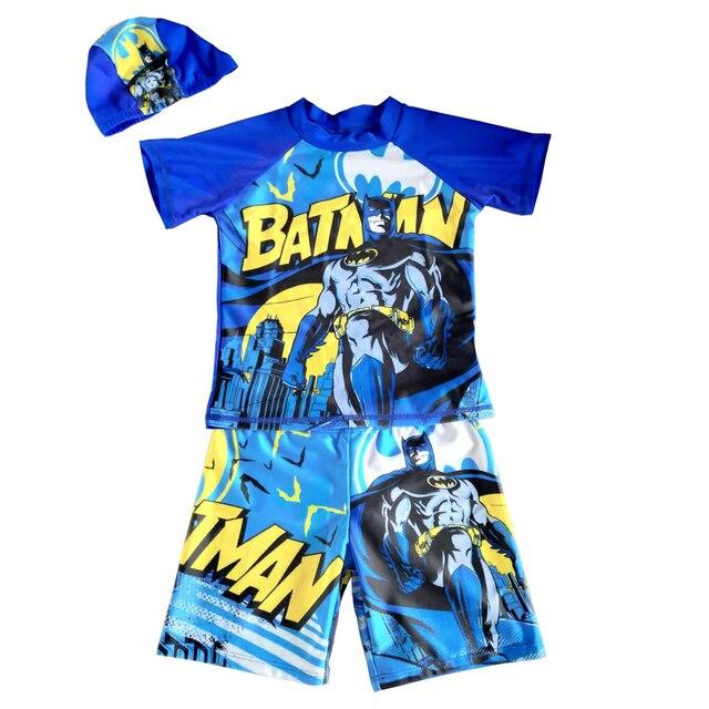 Garçons maillot de bain 3 pièces à manches courtes éruption garde UPF50 + UV protection maillot de bain dessin animé maillots de bain pour enfants avec maillot de bain