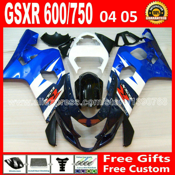 for SUZUKI 2004 2005 white black blue GSXR 600 750 fairing kit K4  gsxr600 QTV 04 05 gsxr750 fairings kits motorcycle 894 chinese watercolor painting book watercolor primer will learn 500 cases of landscape article basic article food articles