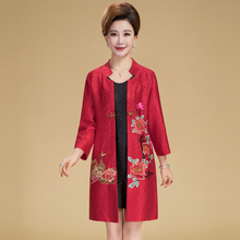 Spring Chinese Traditional Style female elegant Tang suits Tops Manual button embroidery mandarin collar long Jacket for women