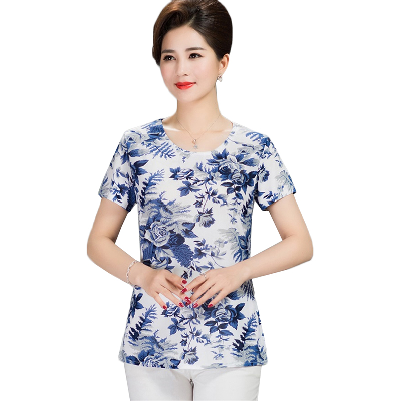 Summer T-shirt Women Printed O-Neck Short Sleeves Milk T-shirt Female Tops Plus Size 4XL Middle-aged Summer Clothes Loose Top
