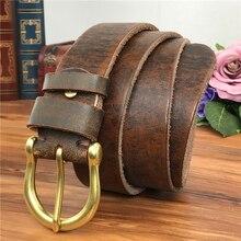 Brass Belt Buckle Men Genuine Leather Belts Vintage Cowboy Jeans Male Strap Ceinture Homme Riem MBT0004