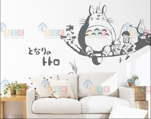 Pegatina Anime Mobil Stiker Totoro Mobil Decal Sticker Kartun Wall Sticker Decor Decal Poster Rumah Kamar Anak-anak Totoro Decal