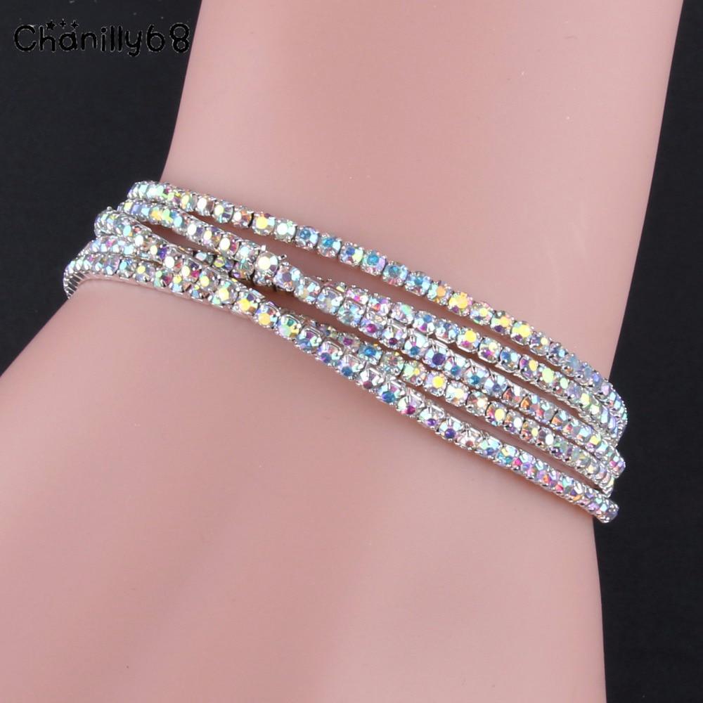 Silver plated women cuff bracelet natural crystal elasticity bangle ofertas del dia jewelry bracelets femmes acier inoxydable