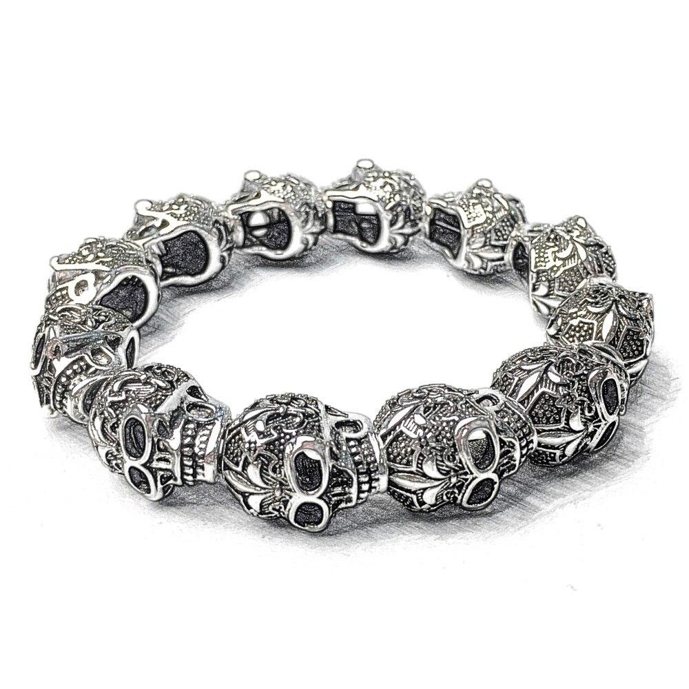 Fleur de lis Lily Beads Skulls Beads Bracelets For Women & Men 2019 New 925 Sterling Silver Rebel Fashion Jewelry Gift Bijoux