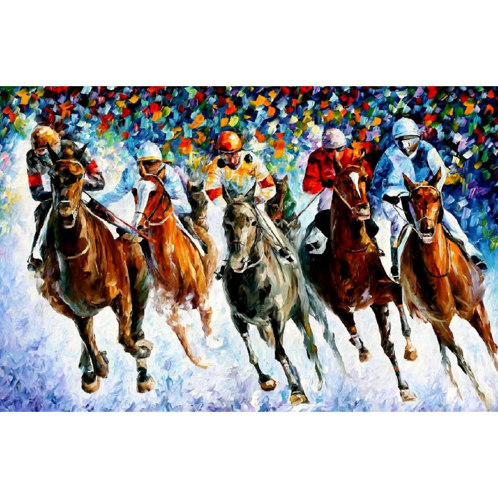 Palette knife oil painting raider race on the snow modern large wall pictures canvas art home decor