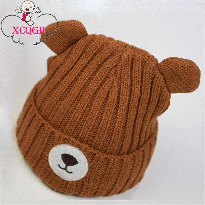 XCQGH Brown Bear Baby Cap Cute Ear Knitted Cotton Beanies Newborn Infant Toddler Hats Cap Kids Warm Winter Baby Hat