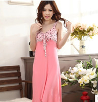 2017 Cotton Spring Summer Women Girl Sleep wears Lace Sleeveless Nightgown Casual Nightgowns AW7694