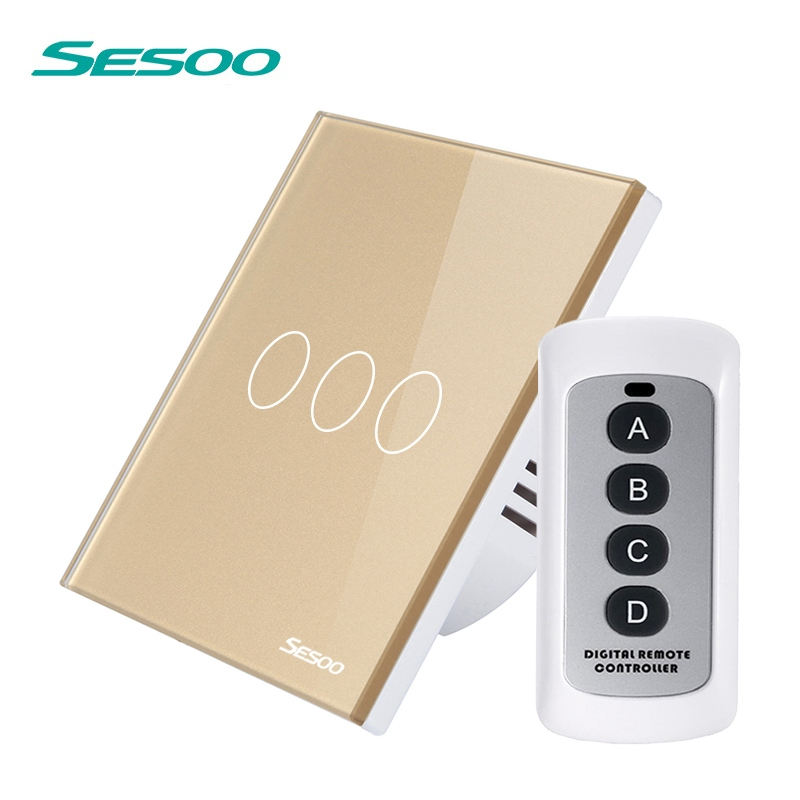 SESOO Wireless Touch Light Switch Waterproof Glass Panel Remote Control Switch 170V-240V Switch with Remote Control SY3-03-RF цена