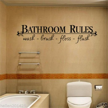 bathroom rules door sign vinyl quotes lettering words wall sticker For bathroom-Free Shipping