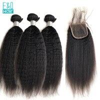 EQ странный прямые волосы 3 шт. утка и 1 шт. закрытия шнурка перуанский Remy 100% Пряди человеческих волос для наращивания Связки с закрытием для д