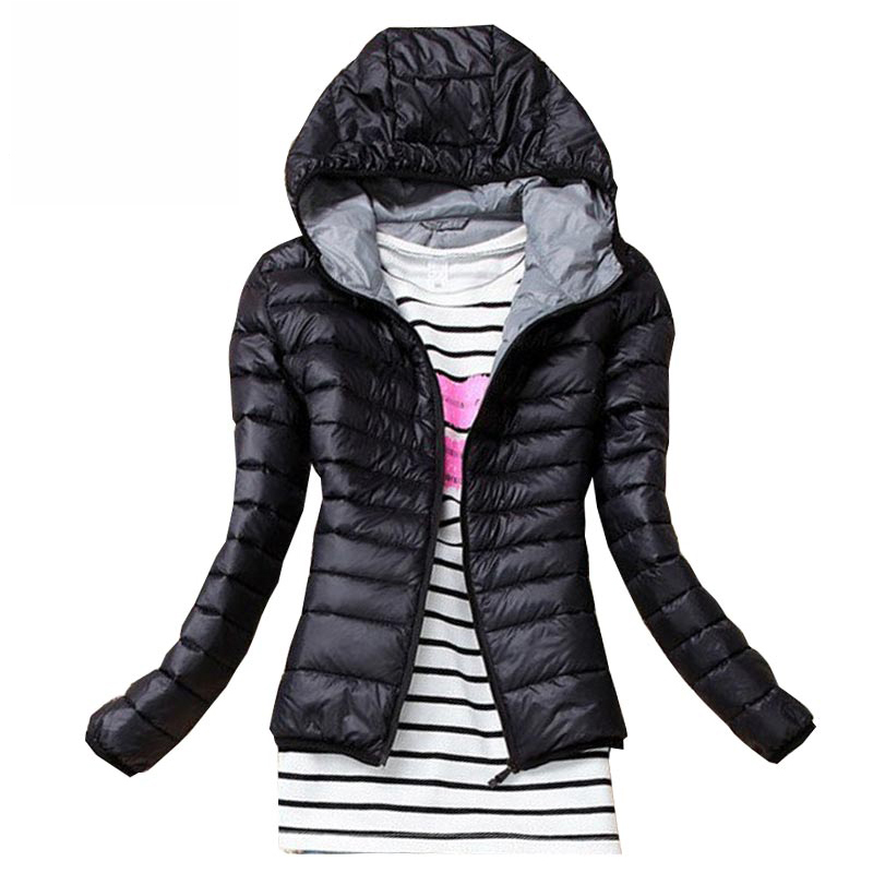 2017 Autumn Winter Women Basic Jacket Coat Female Slim Hooded Brand Cotton Coats Casual Black Jackets 1
