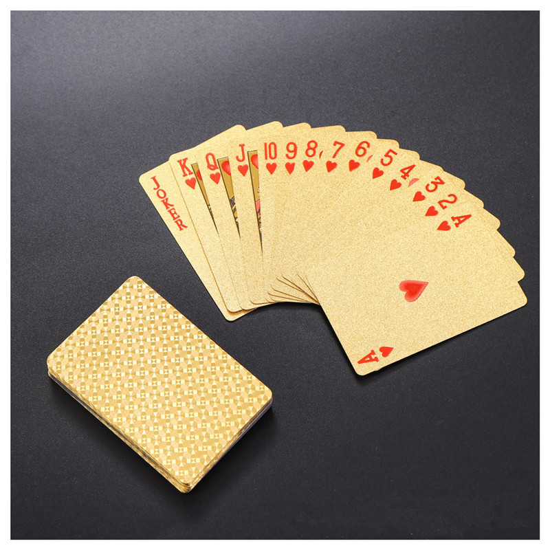 Waterproof 24K Gold Playing Cards Poker Game Luxury Deck Gold Foil Poker Set Plastic Magic Card Gambling Durable Cards Magic