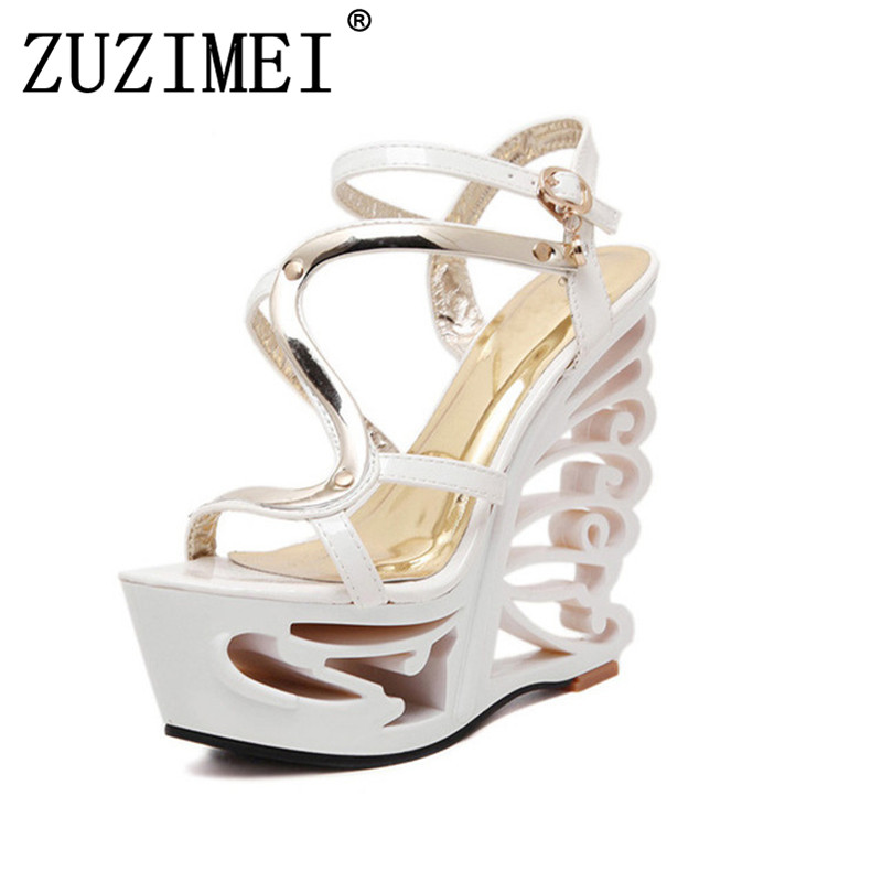 Summer Fashion Patent Leather Gladiator Sandals Women Buckle Strap Super High Heels wedges Platform Shoes Woman enmayer fashion summer shoes woman high heels wedges sansals women hook