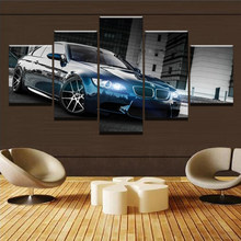 Canvas Printed Poster Home Decor 5 Pieces HD Bmw M3 Black Sport Car Paintings Wall Art Pictures Living Room Modular Framed(China)