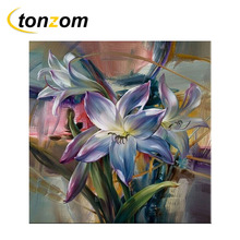 RIHE Orchid Diy Painting By Numbers Abstract Flower Oil On Canvas Cuadros Decoracion Acrylic Wall Art Home Decor Gift