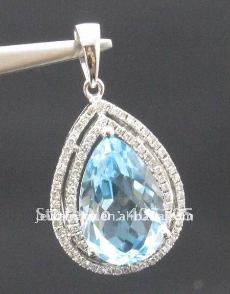 14 K Oro Blanco 5.20CT Topacio Azul Colgante de Piedras Preciosas Joyas