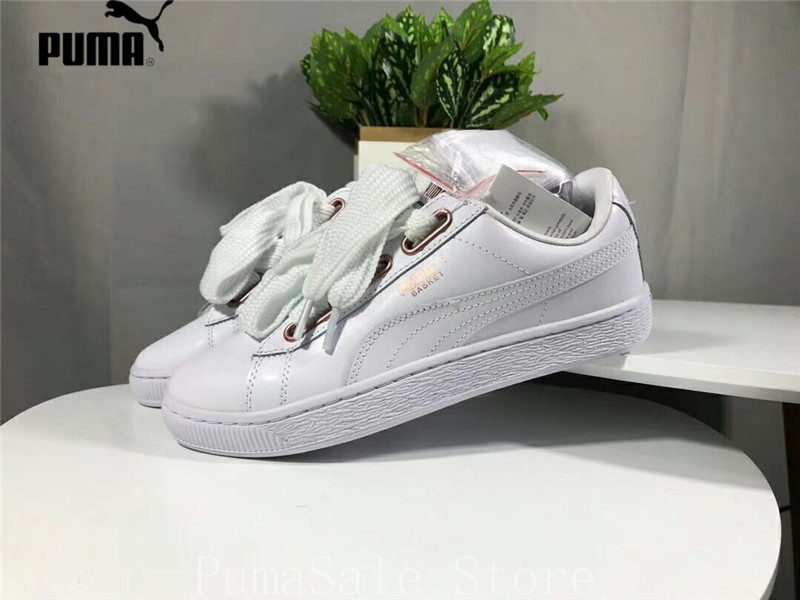 b821163aa8554d 2018 Puma Basket Heart Leather Wn s Badminton Shoes Lace Up Bow Outdoor  White  Rose Gold