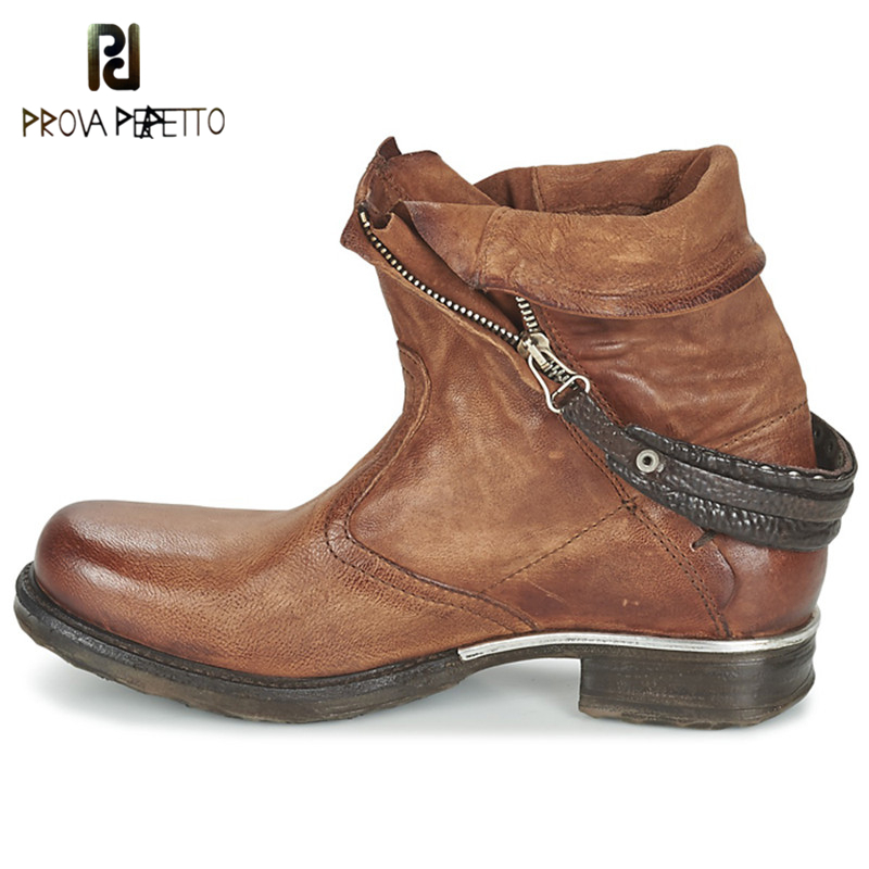 Prova Perfetto Winter Retro Chelsea Boots Woman Round Toe Brown Real Leather Boots Flat Shoes Woman Buckle Strap Short BoootsProva Perfetto Winter Retro Chelsea Boots Woman Round Toe Brown Real Leather Boots Flat Shoes Woman Buckle Strap Short Booots