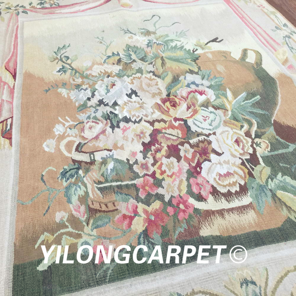 Yilong 3.1'x4.2' customized flat weave handmade french wool aubusson style wall tapestry (Au38 3.1x4.2) - 5