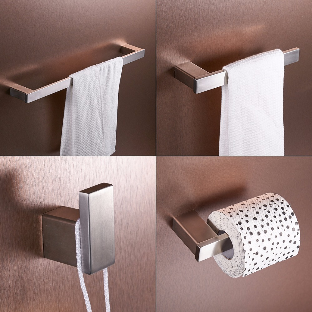 Nickel Brushed 304 Stainless Steel Next Bathroom Accessories Set Single Towel Bar, Cloth Hook, Paper Holder Bath Hardware Sets leyden towel bar towel ring robe hook toilet paper holder wall mounted bath hardware sets stainless steel bathroom accessories