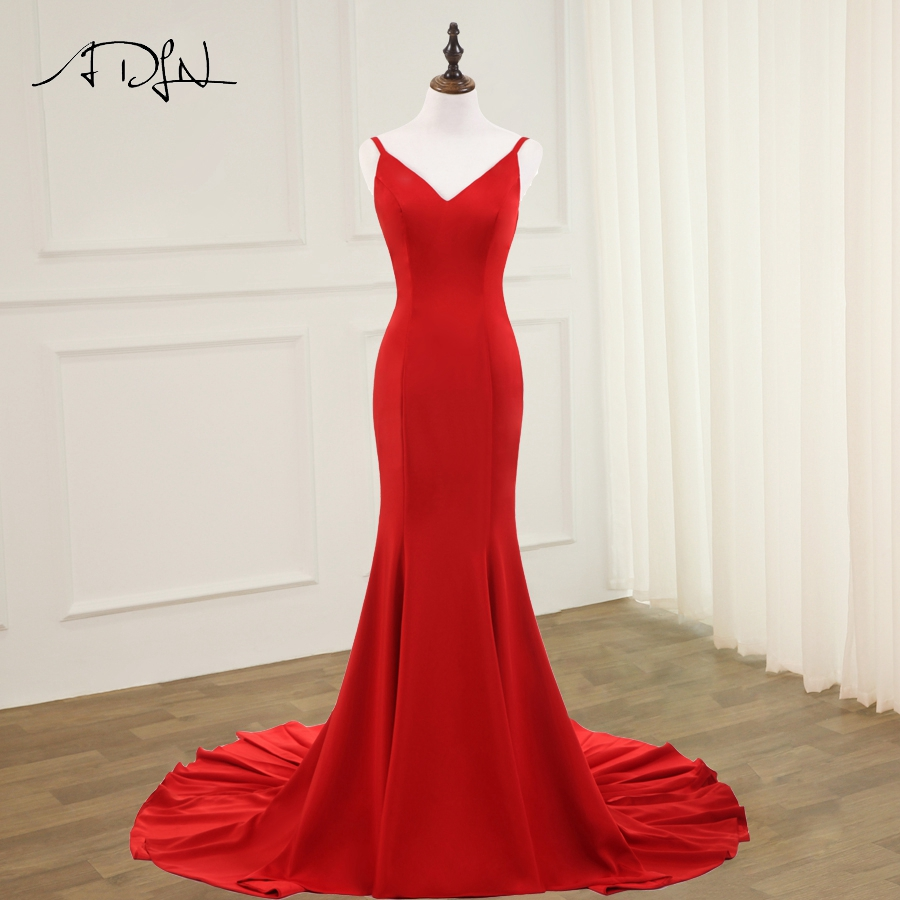 ADLN Sexy Red Mermaid   Evening     Dresses   Spaghetti Strap Sleeveless Open Back Prom Gowns Vestido De Noche New Arrival