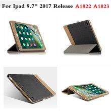 Cubierta para Funda de negocios Nuevo iPad 2017 Versión 9.7 pulgadas A1822 A1823 Folio de Cuero de Lujo de LA PU de Costura de Colores Libro caso